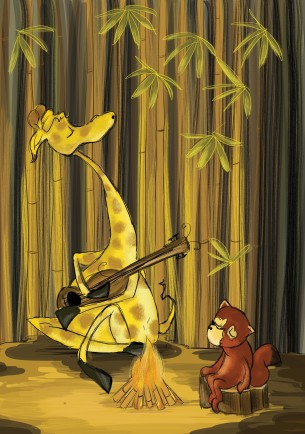 Illustration from my WIP dummy, Giraffe Jazz