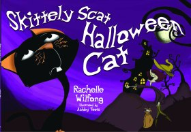 """A cat named Halloween is not happy with his Halloween job of scaring people. He wants a new job and """"trys on"""" several new occupations in this beautifully illustrated book by Rachelle Wilfong and illustrated by Ashley Teets."""